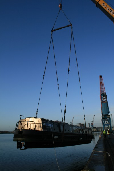 Black Prince being lifted out of Swansea Docks for the last time - 2013