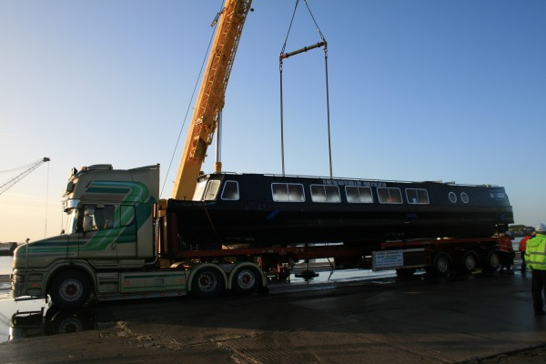Black Prince being loaded onto a lorry for its journey to a new home - 2013