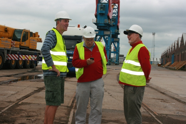 Charles, Pete and John (in Hi Viz and Hard Hats) awaiting the arrival of Copper Jack