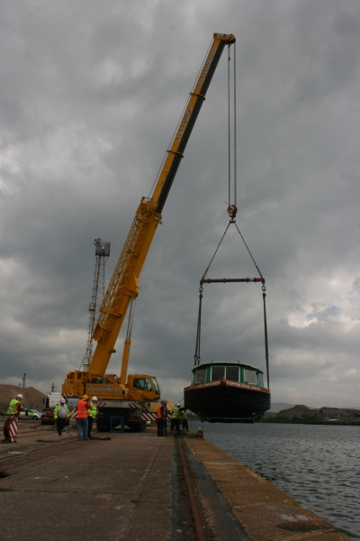 Copper Jack about to be lowered into the water