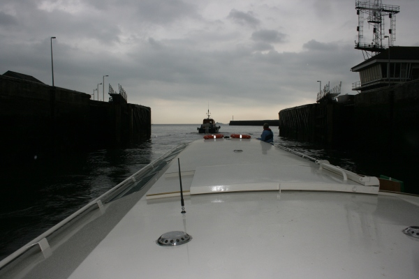 Copper Jack following Pilot boat out of ABP's sea-going lock