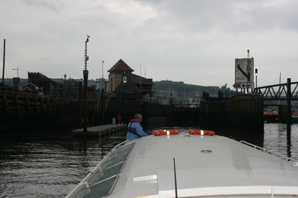 Heading to calmer waters, Copper Jack comes into Tawe Lock