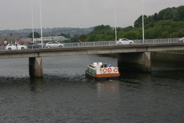 Copper Jack passing under first road bridge