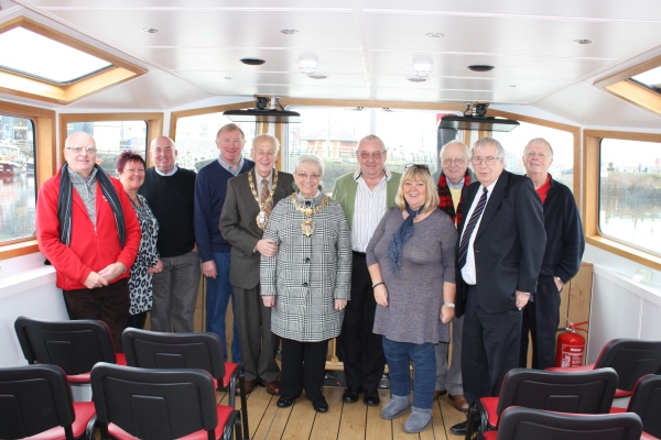 Lord Mayor Cllr Ceinwen Thomas and Mr David Thomas welcomed aboard Copper Jack by Trustees and volunteers
